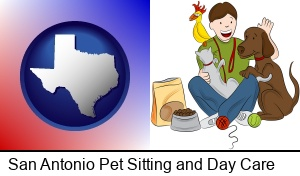 San Antonio, Texas - a young man pet sitting a cat, a dog, and a bird