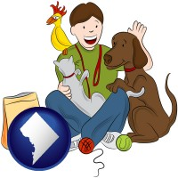 washington-dc map icon and a young man pet sitting a cat, a dog, and a bird