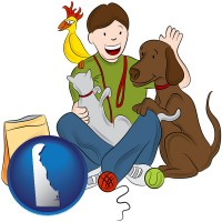 delaware map icon and a young man pet sitting a cat, a dog, and a bird