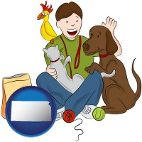 kansas map icon and a young man pet sitting a cat, a dog, and a bird